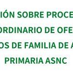 Información sobre el procedimiento extraordinario de ofertas a médicas/os de familia de Atención Primaria en el ASNC